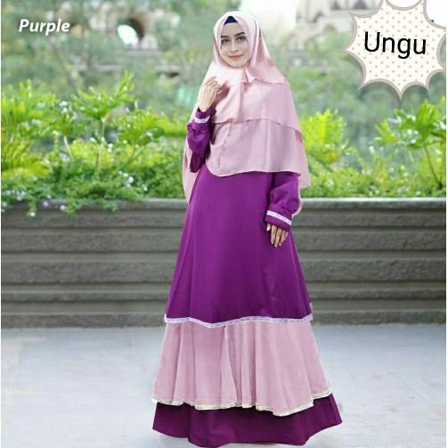 Cuci Gudang !!!    Gamis Syari Sanaya Purple Baju Muslim Maxi Bergo Wanita Remaja Ungu Tm