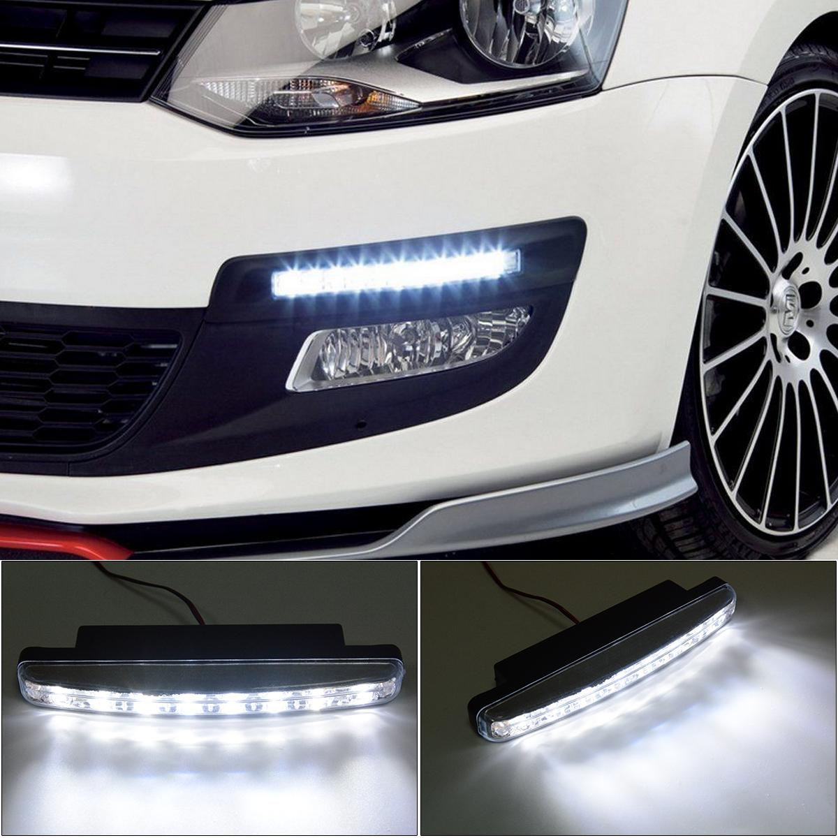 XCSOURCE 2x Car Daytime Running DRL Bright Driving Day Light Head Lamp 8 LED white MA134