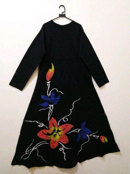 Gamis Hitam Motif Bunga Baju Hamil Menyusui Bumil Busui Kaos Klok