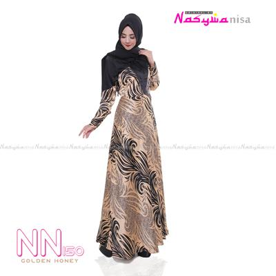 Nasywanisa Baju Muslim Gamis Dress Ekslusif Busui Friendly NN150 - Golden Honey