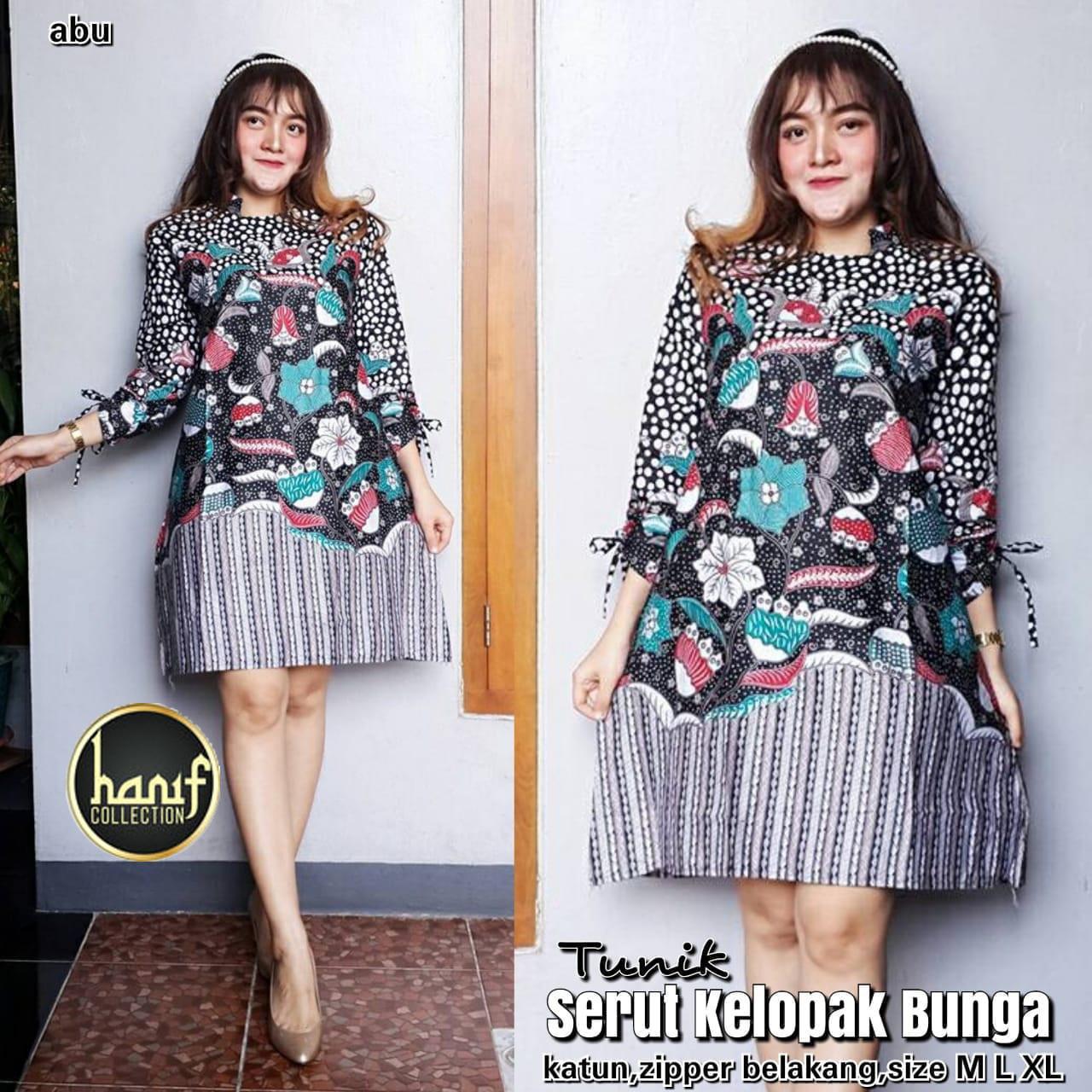 Harga Jual Baju Wanita Dress Batik Tunik Genes Serut D 128700 Jo Lakesha Dusty