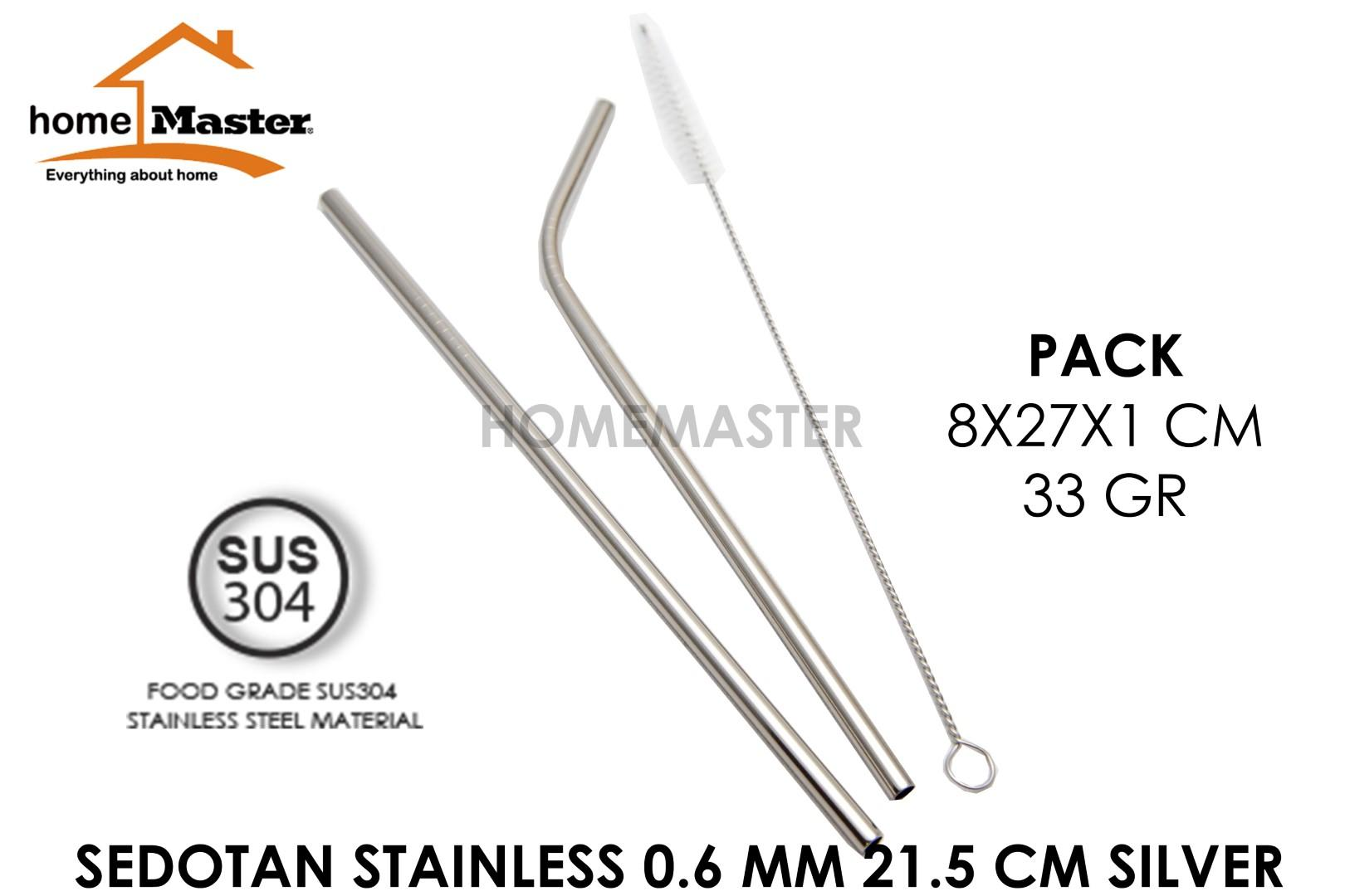 Homemaster Set Straw/sedotan Stainless 304 0.6 Mm 2 Pcs Dengan Sikat 21.5 Cm Ss62153set By Homemaster