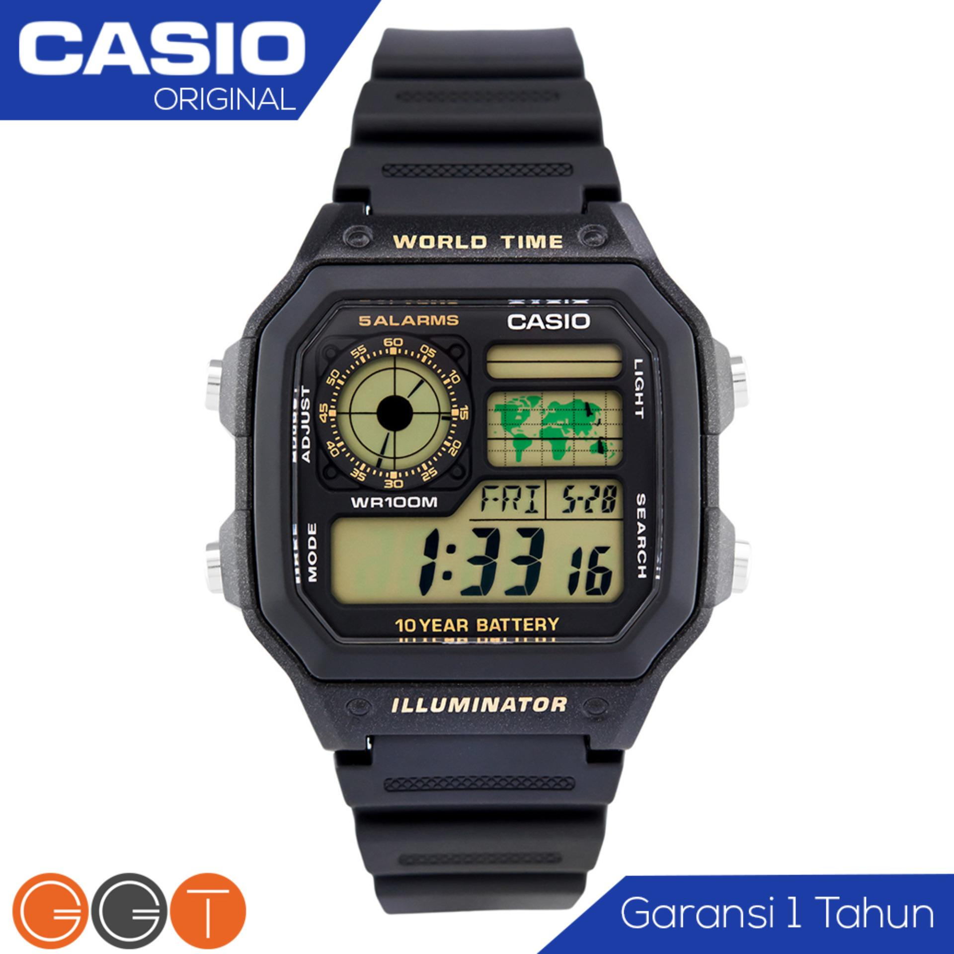 CASIO Illuminator Bond Style - Jam Tangan Pria - Tali Stainless (WHD) / Resin (WH)  - Digital Movement - Silver AE-1200 Promo