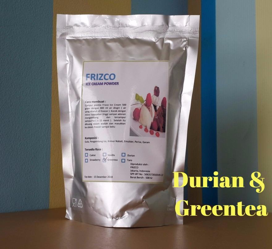Bubuk Es Krim Frizco 500gr Durian Dan Greentea (2pcs) Ice Cream Powder (1kg) Frisco Gitabali By Gitabali.