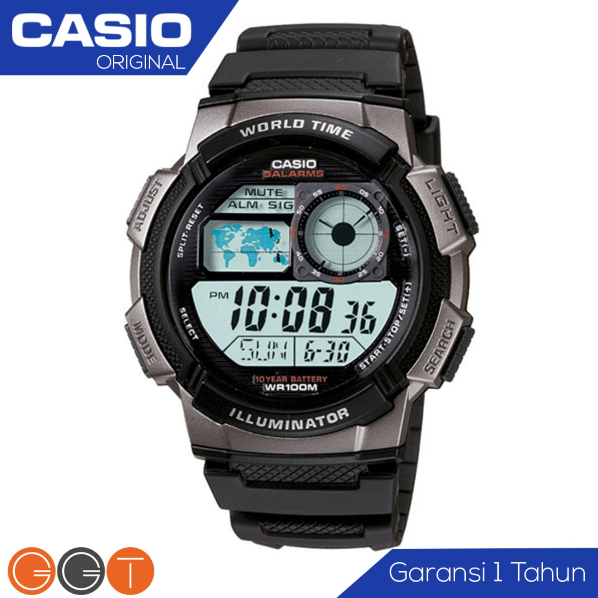 CASIO Illuminator AE-1000W - Jam Tangan Pria - Tali Karet Rubber Resin - Digital Movement Anti Air