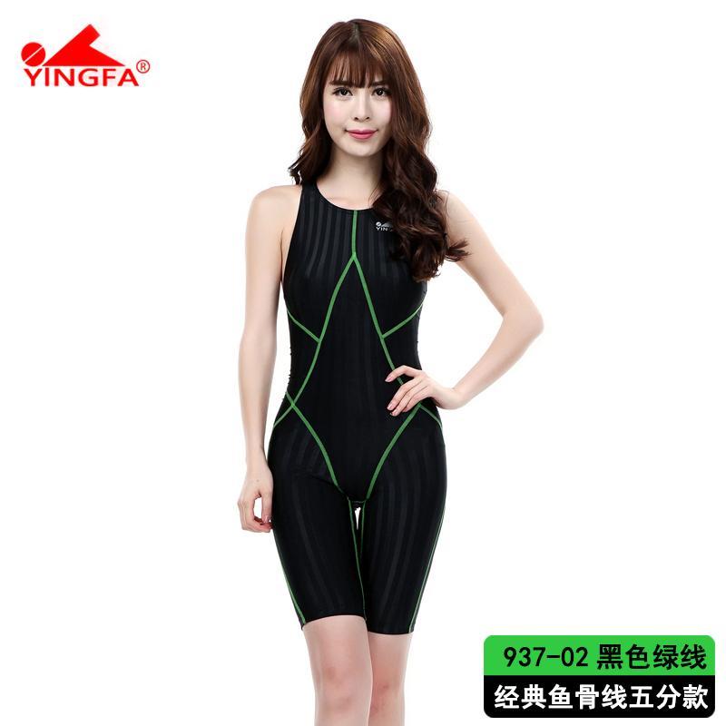 Yingfa Petinju Wanita Inggris Baju Renang Satu Kepingan (977-kaki Panjang Hitam Garis Putih
