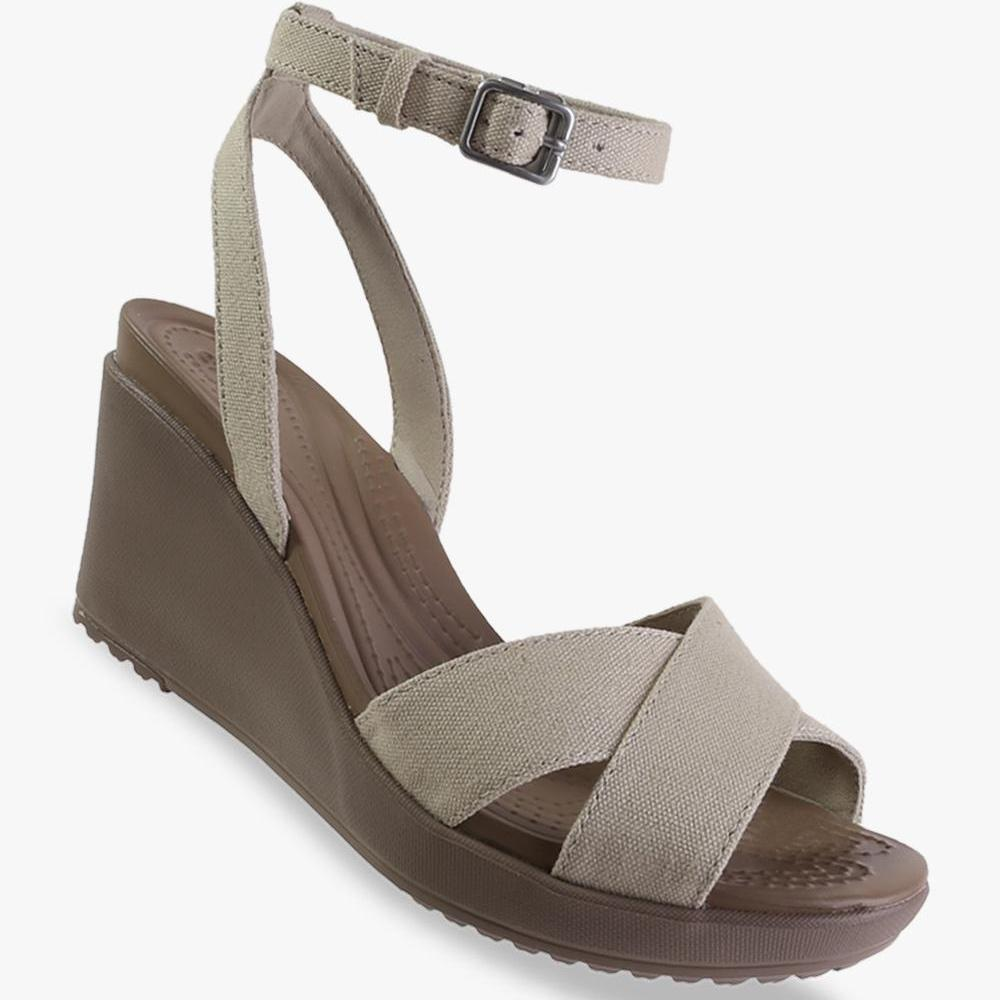 Crocs Women's Leigh II Ankle Strap Wedge - Beige