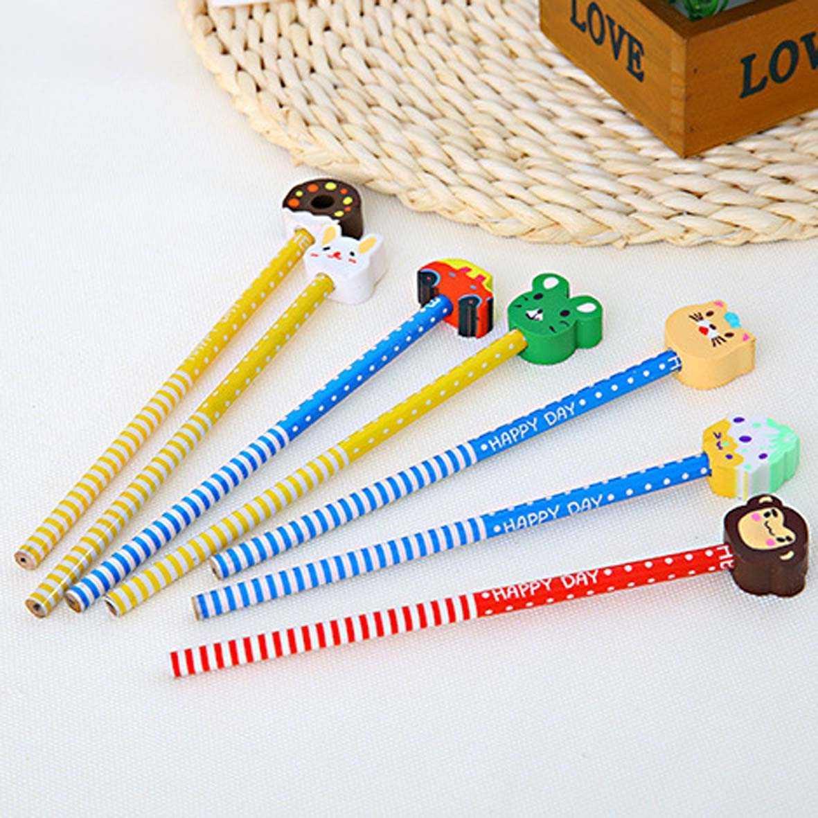 pensil kartun dengan penghapus rubber sets of pencil spe029   Office