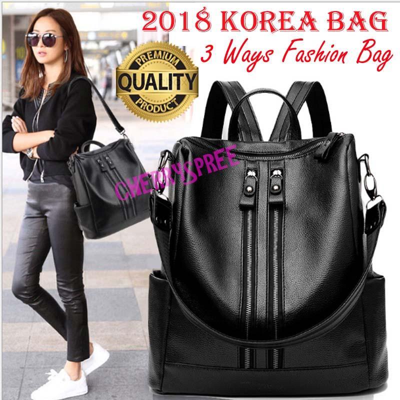 Tas Ransel Tiara 3in1 Kulit PU Import Korean Style Bagus Fashion Branded  Wanita Remaja Dan Dewasa 49baad581e