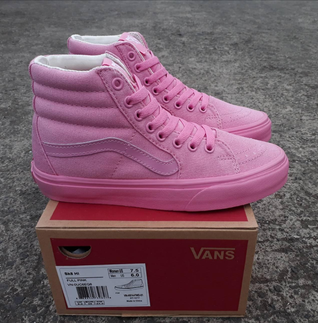 sepatu vans sk8 hi full pink wafle dt