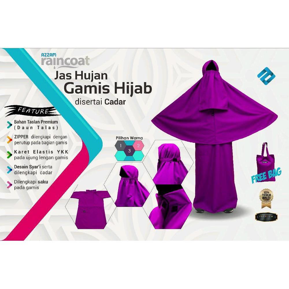 PROMO........Jas hujan gamis jilbab plus cadar bahan taslan premium import Daun Talas