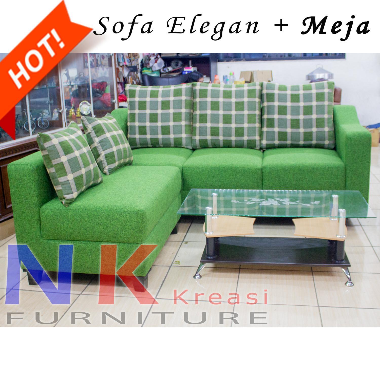 Sofa Kursi Ruang Tamu Minimalis Green + MEJA TAMU - JABODETABEK ONLY