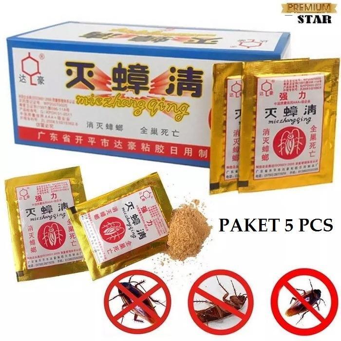 [5 BUNGKUS] Racun Pembasmi Kecoa 7STAR / Cockroach Gold Emas MieZhangQing Paling Ampuh (5 Pcs)