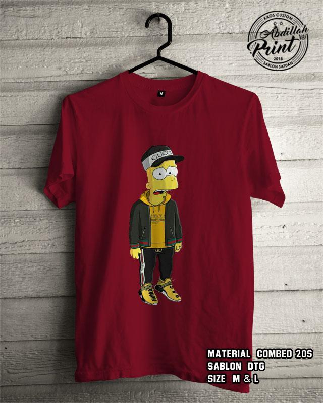 Kaos Distro Custom Design T Shirt Casual Atasan Pria Wanita Cotton Combed 20s Sablon DTG Quality Export - The Simpson Anime Cartoon - Marun