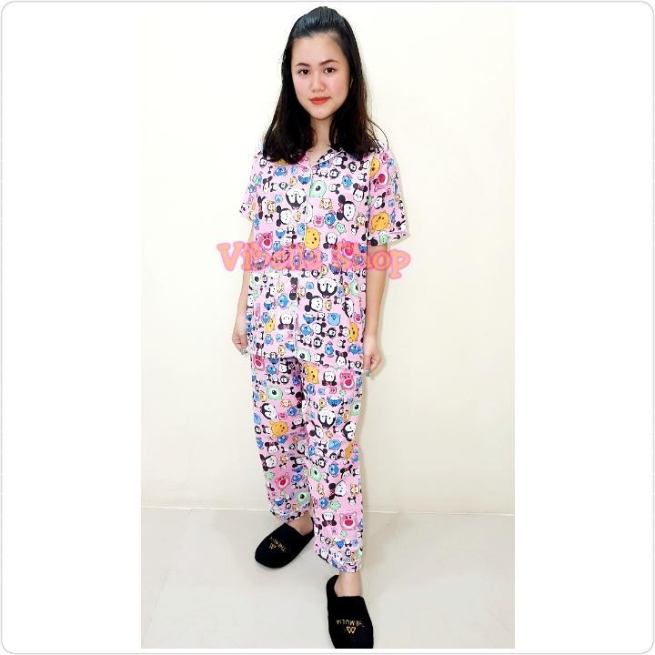 Piyama Baju Tidur TSUMCP Tsum Merah/Navy/Pink B - Lengan Pendek Celana Panjang