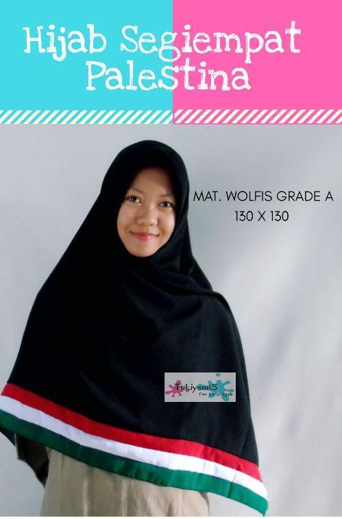 Jilbab Segiempat Kerudung Hijab Syari Palestina Wolvis Woolpeach - tukiyem13 `