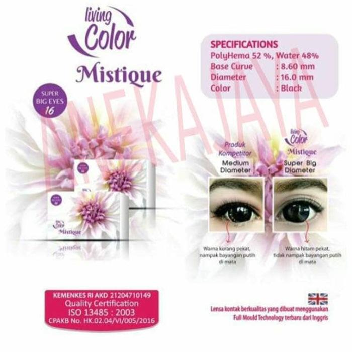 Promo - SOFTLENS LIVING COLOR MISTIQUE (KEMENKES) 16 MM (BLACK ONLY) Original