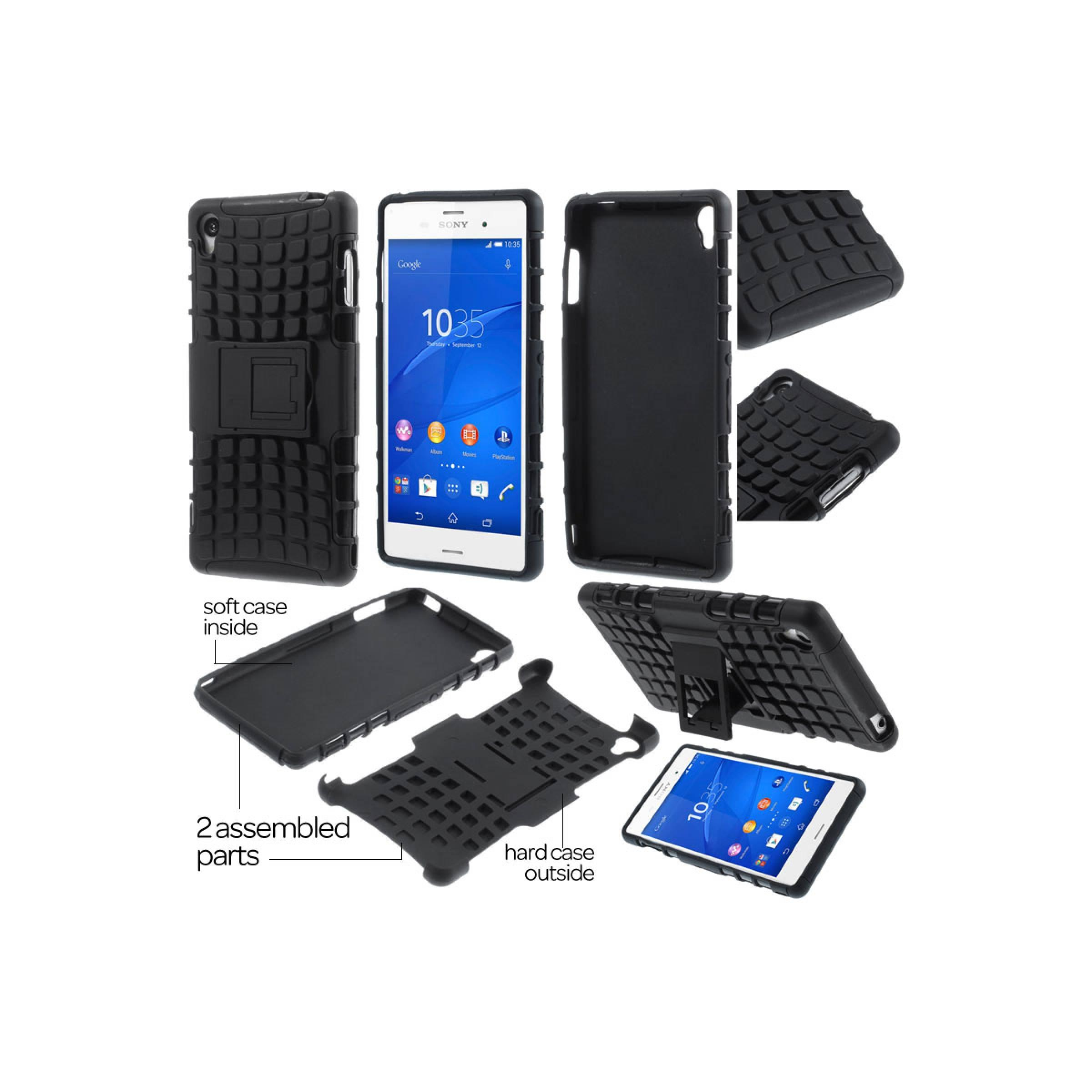Jual Heavy Duty Rugged Armor Hard Soft Cover Stand Case Sony Xperia Z3
