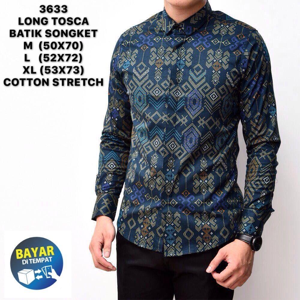 Kemeja batik pria songket murah  / Baju kerja cowok slimfit lengan panjang / kaos casual keren