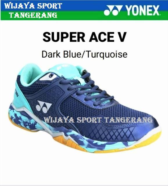SEPATU BADMINTON YONEX SUPER ACE V DARK BLUE/TURQUISE (DI JAMIN ORIGINAL)