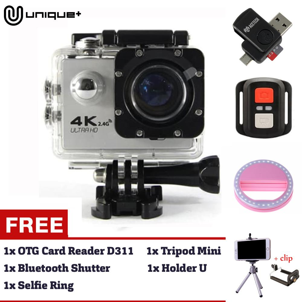 Unique 4K 12MP Wifi Ultra HD Action Camera Wifi Sports Cam For Smartphone ios & Android Phone FREE REMOTE BLUETOOTH SHUTTER + TRIPOD MINI + SELFIE RING + MICRO USB OTG CARD READER D311