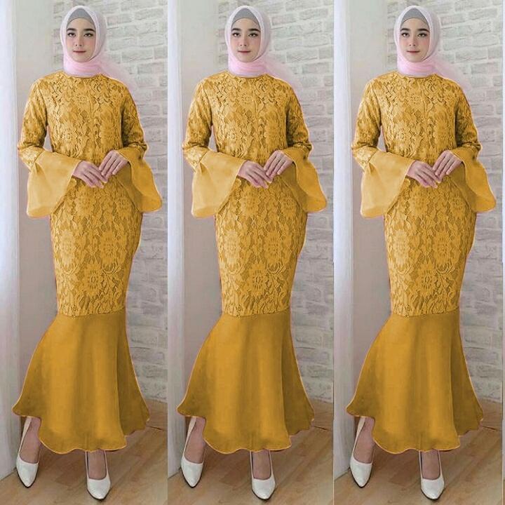 dress duyung mustard