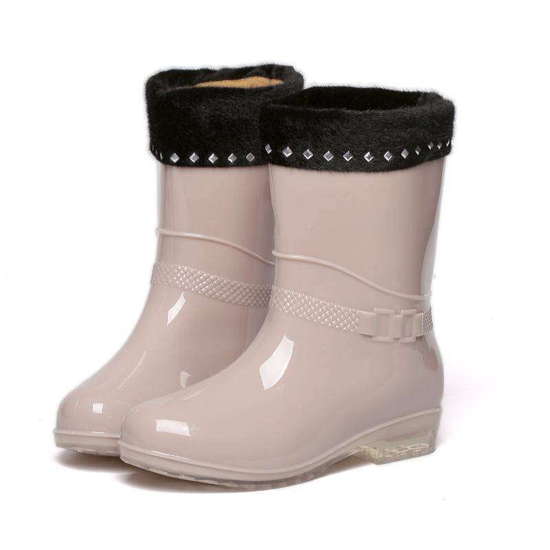 Musim gugur musim dingin sepatu boots hujan wanita Korea Selatan sepatu Penghangat Martin sepatu bot hujan Sepatu anti air wanita modis Sepatu karet Tambah beludru Pendek sepatu anti air