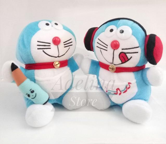 Bisa COD - Combo Boneka Doraemon Walkman & Doraemon Pensil High Quality - Biru // Boneka Koleksi