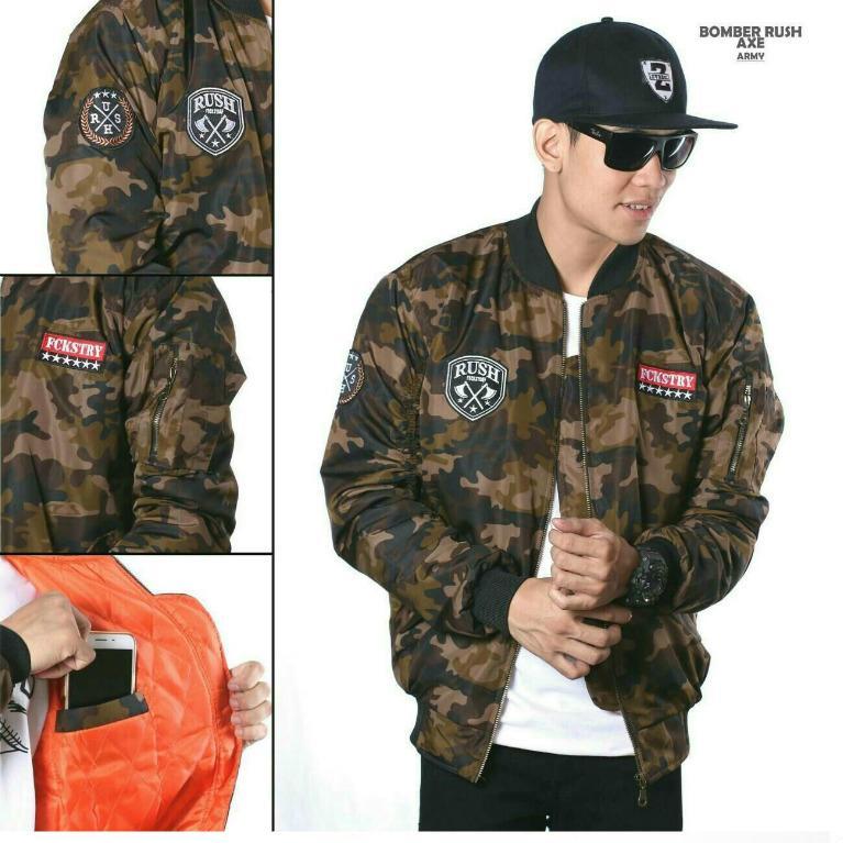 jaket Bomber pria loreng army jaket tentara jaket adventure warior collection