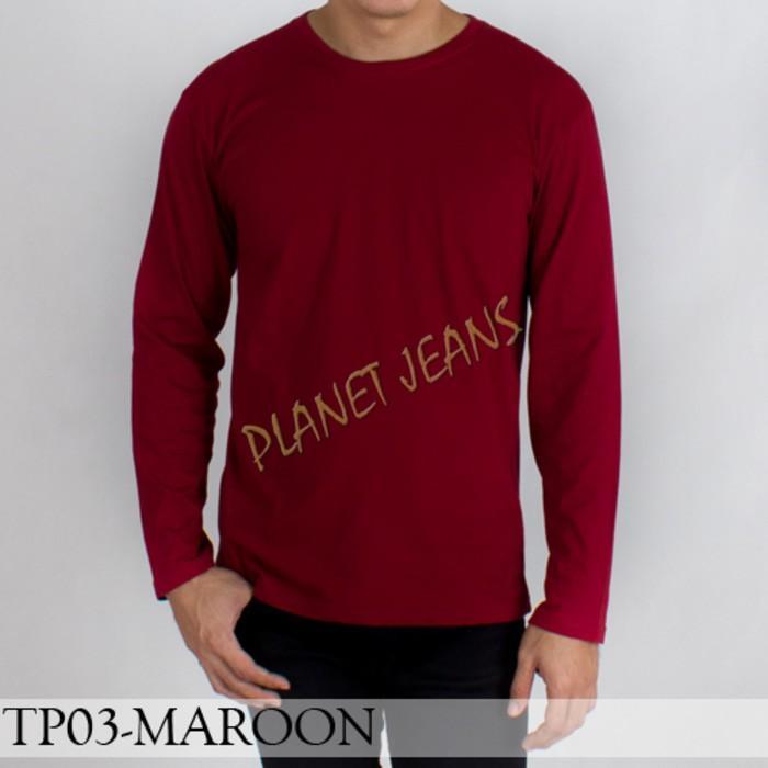 Baju Kaos Polos Lengan Panjang Pria / Polosan Cowok Warna Merah Maroon - 92Up0z