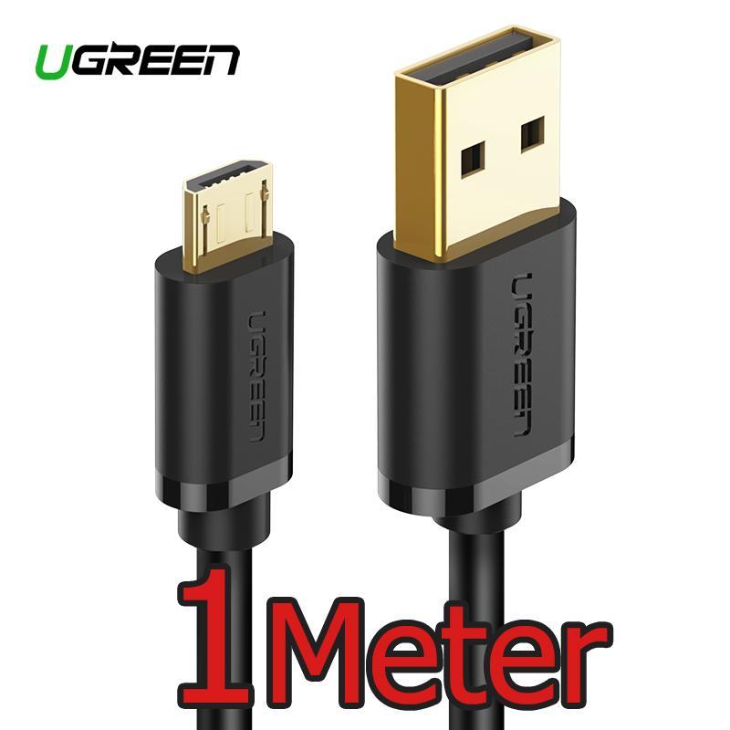 UGREEN Original 1Meter Micro USB Kabel for Samsung, Xiaomi, Redmi, LG, ASUS Zenfone Handphone hp Fast Charging Data Cord Black