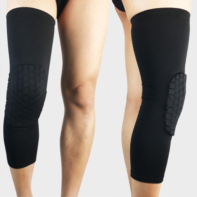 1Pasangan hitam Olahraga Pelindung Lutut Berbentuk Sarang Lebah Pad Yg Tahan Pukulan Legging Bola Basket Lengan