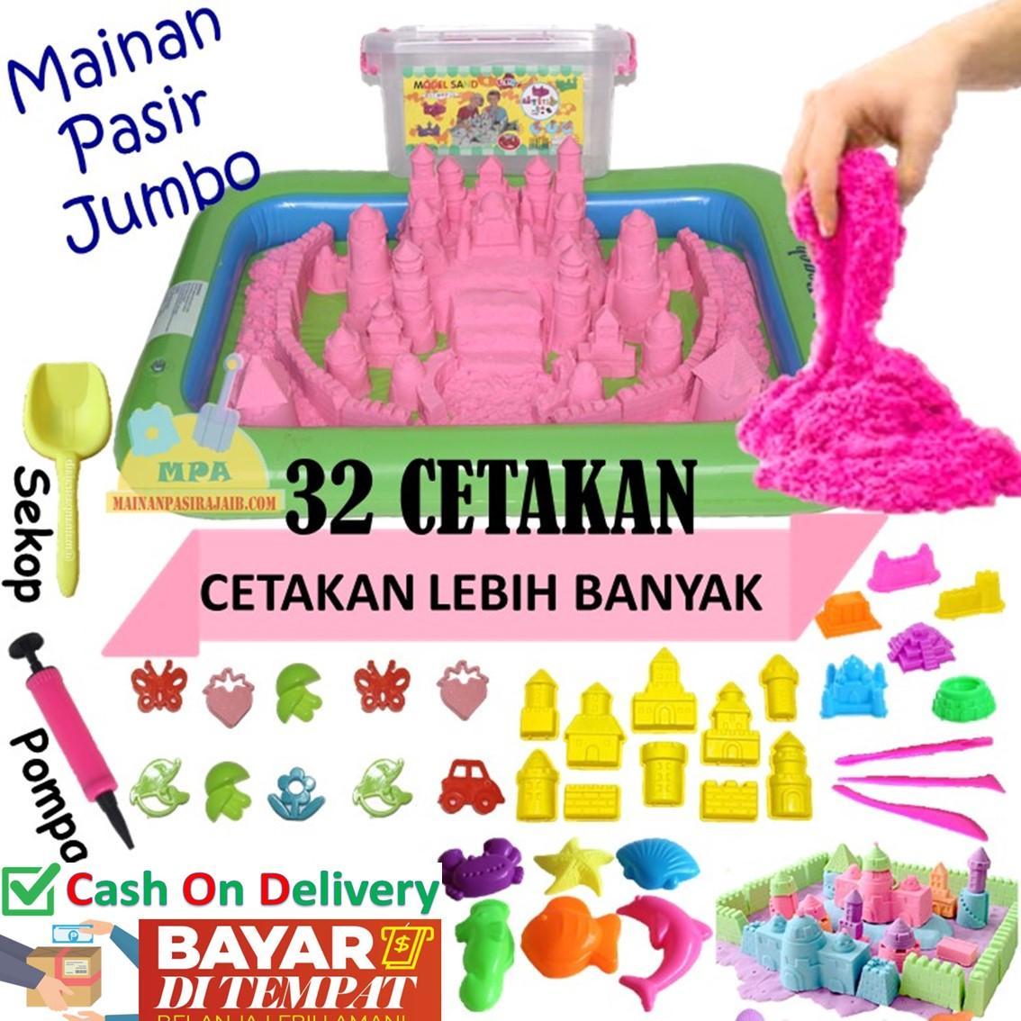 Mainan Pasir Anak Magic Play Sand Model Sand 2KG Paket Lengkap 32 Cetakan