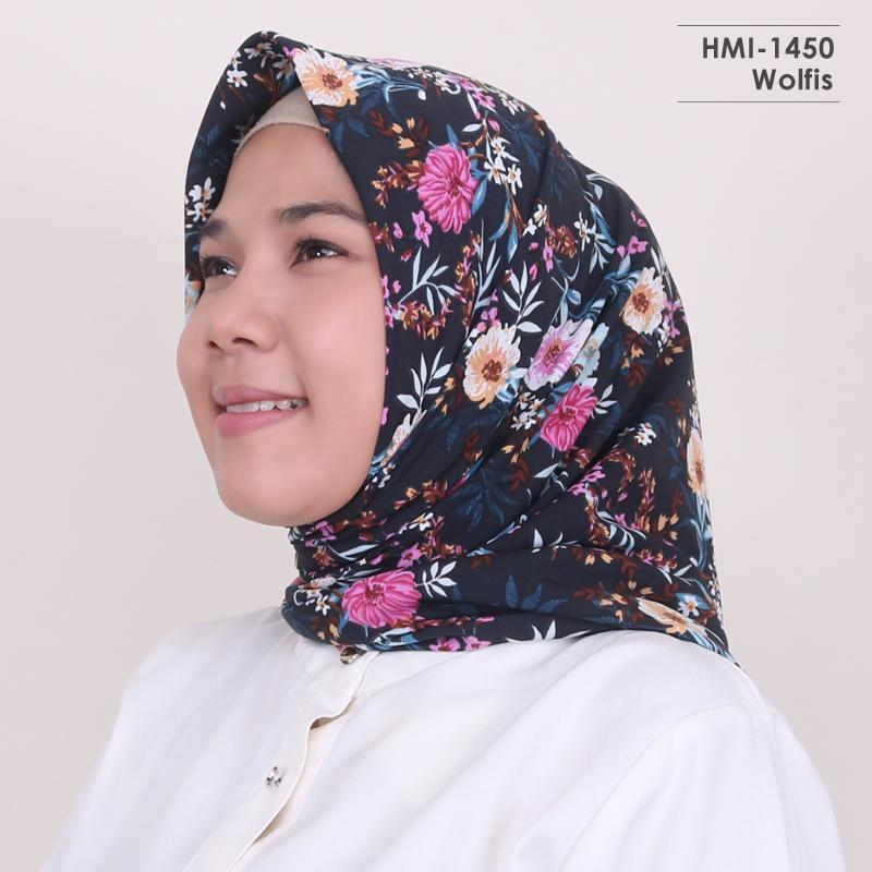 HMI-1450 Hijab Motif - Jilbab Wanita Segi Empat Terbaru dan Kekinian by Hijab Mamah icis