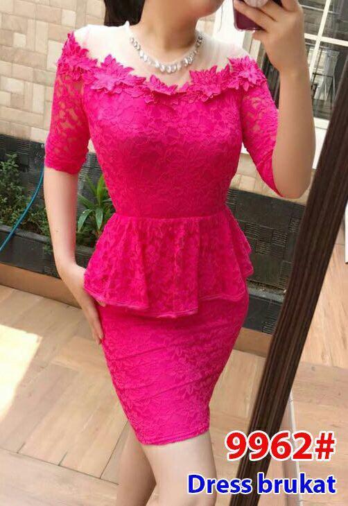 9962# baju pesta import  / gaun pesta import / baju congsam / cheongsam brokat / dress fashion import