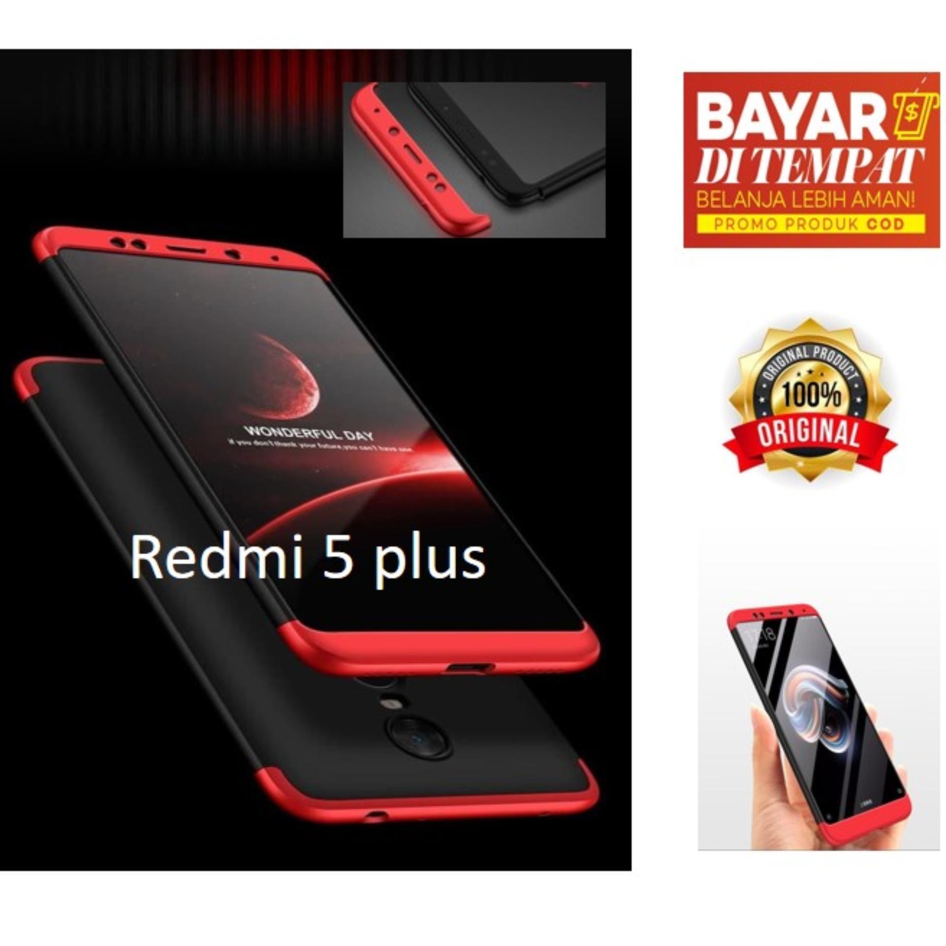 Case 360 Hardcase Premium Front Back 360 Degree Full Protection Case Quality Grade A for Xiaomi Redmi 5 Plus/CASE 360 PREMIUM  FULL DEPAN BELAKANG  UNTUK XIAOMI REDMI 5 PLUS/ REDMI NOTE 5 PLUS - HITAM LIST MERAH