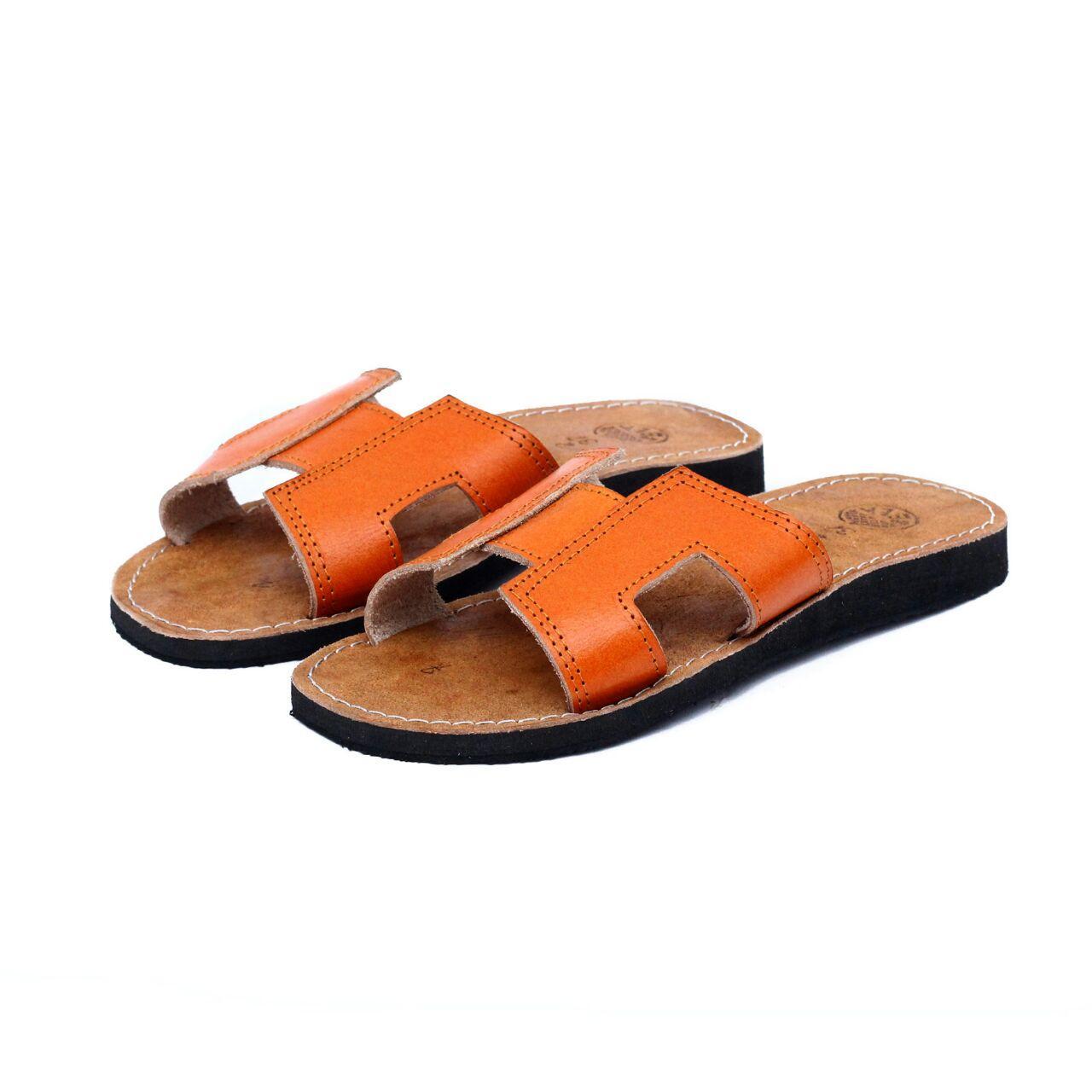 Sandal Kulit Wanita Model H Kulit Asli -Sandal Teplek Warna Orange