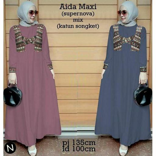 Promo Hari Ini Cn 7090 Aida Maxi Dress Terusan Gamis Syari Wanita Murah Batik Songket Etnik Simple