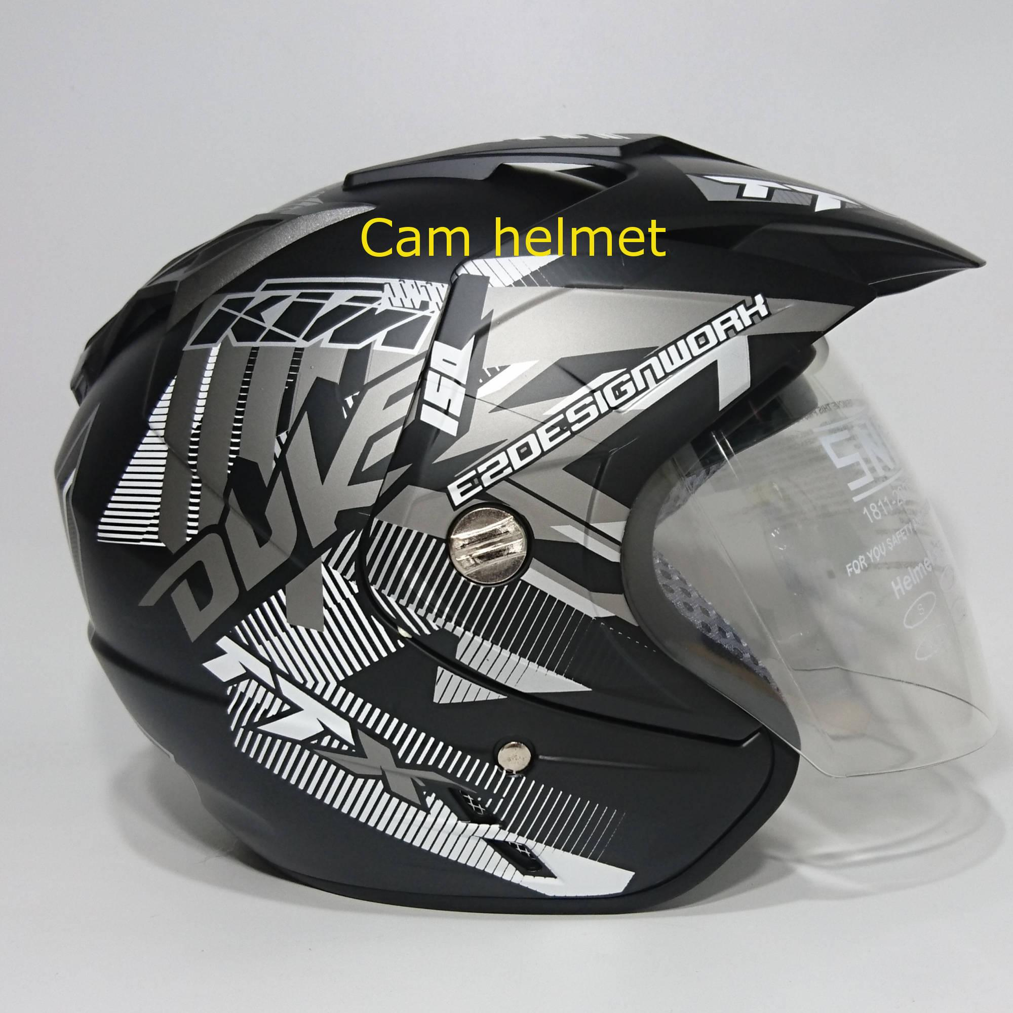 Helm 2 kaca (double visor) Duke Black doff abu