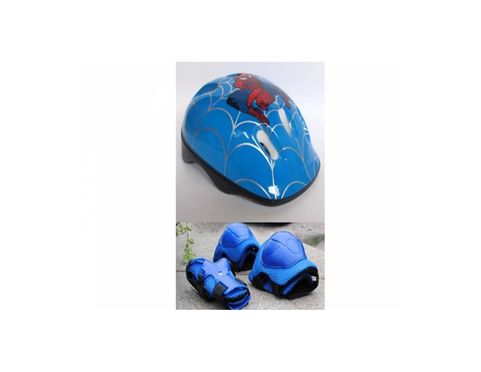 helm sepatu roda/sepeda anak lengkap motir spiderman