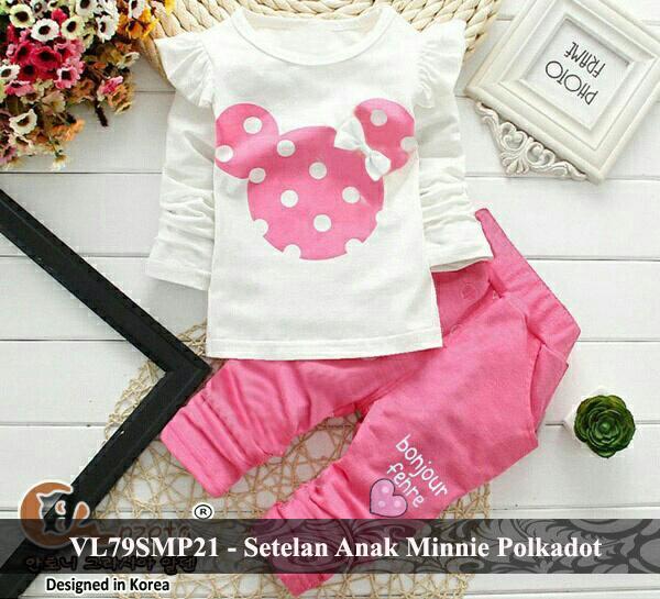 vlovi promo lazada baju anak perempuan motif polkadot murah setelan baju anak minnie mouse VL79SMP21 minnie polkadot  fit 3 - 5 tahun