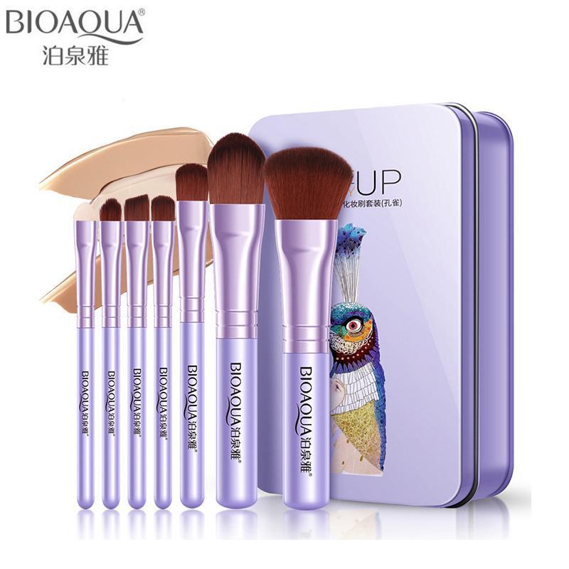 Zzooi Bioaqua Brand 7pcs Pro Purple Makeup Brushes Set Soft Fiber Foundation Eyeshadow Powder Bb Cream Base Brush Cosmetic Tool (BLUE)