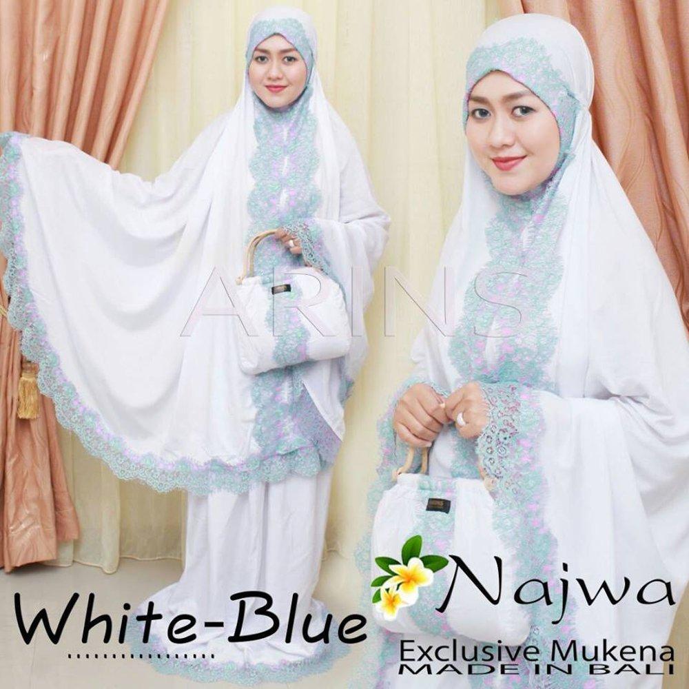 Mukena Najwa Bordir Renda Bahan Adem white-blue di lapak Grosir mukena grosirmukena880