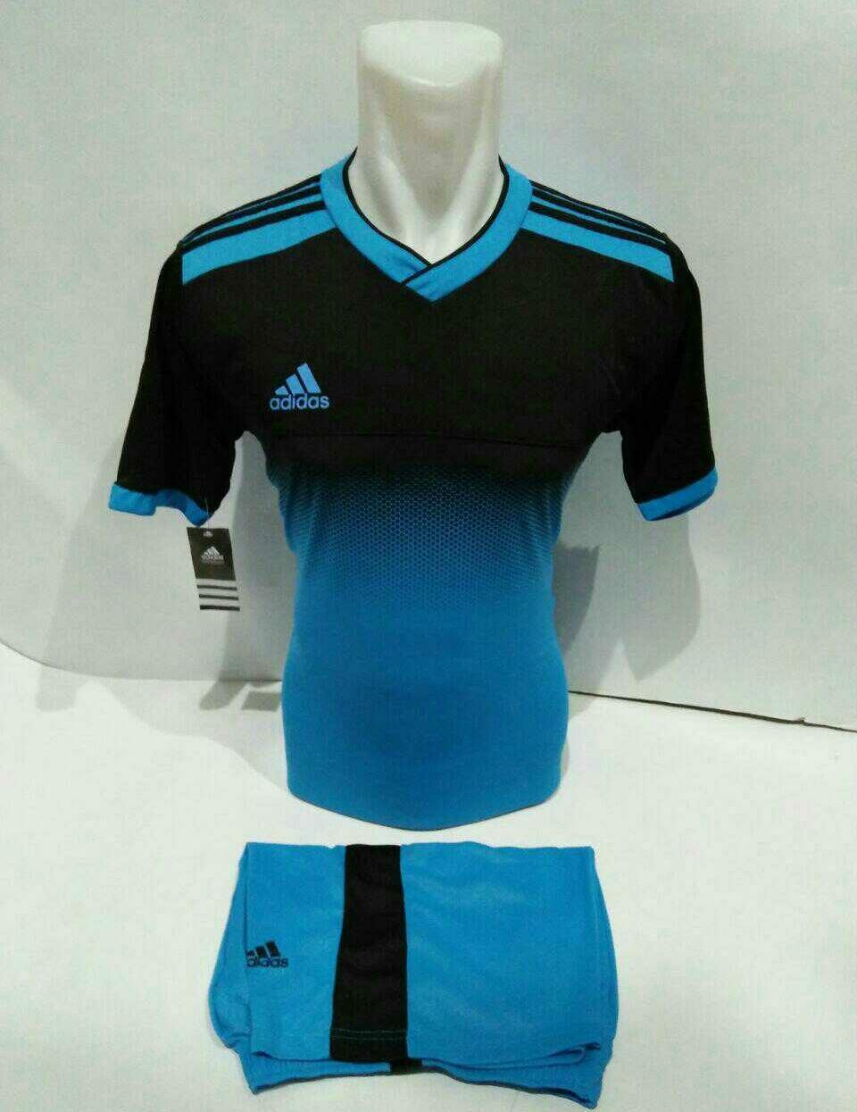 Baju kaos jersey bola setelan futsal bola/volly Adidas 04 Hitam biru