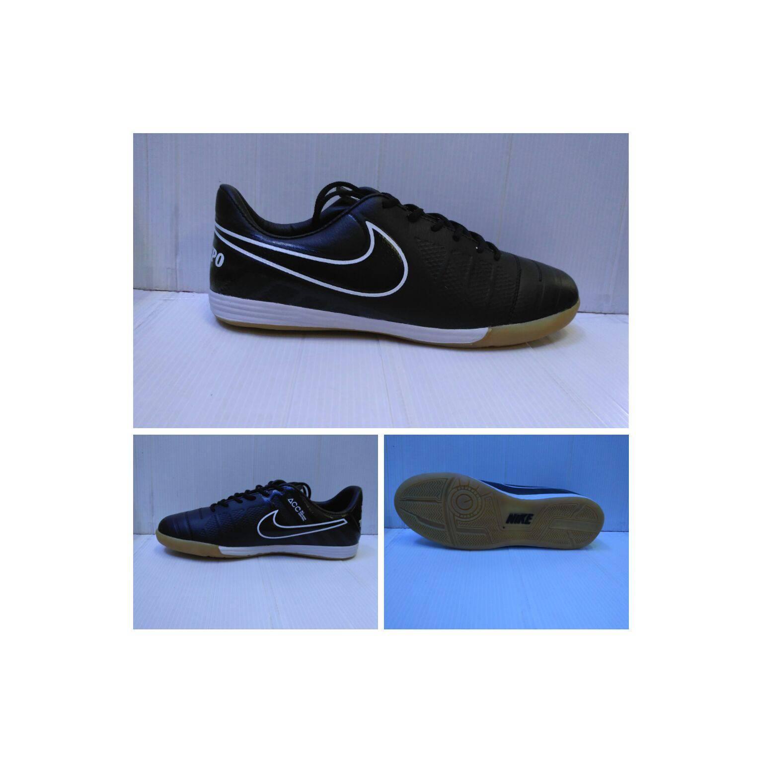 Sepatu futsal nike tiempo hitam list putih sol karet