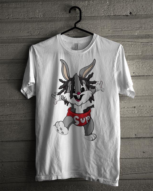 Kaos Baju Distro Kaos Pria Wanita T-Shirt Kasual BUGS BUNNY SUPREME W6113