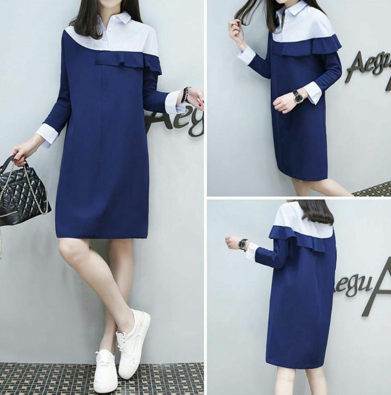 FJCO Dress Ruffle / Dress wanita / Fashion wanita
