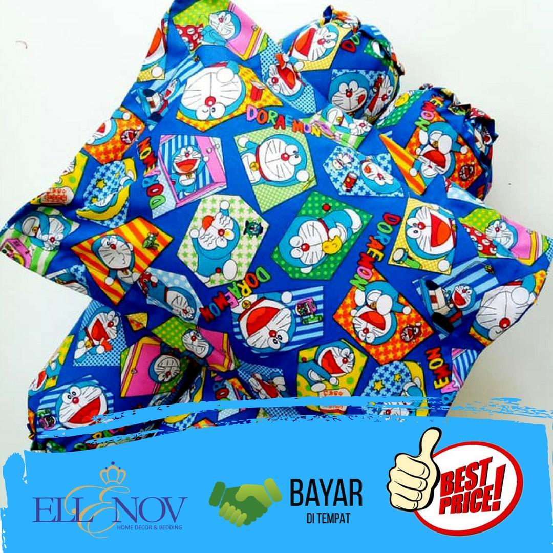 Sarung Bantal dan Sarung Guling Bayi Bahan Katun Motif Doraemon Puzzle / Sarung Bantal anak / Sarun