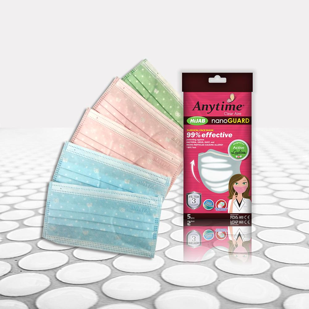 ANYTIME Hijab Surgical Face Mask 5 Pcs For Ladies - Masker - Compare With Sensi. Diapro. Skrinner. One Med