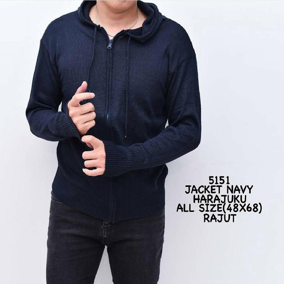 Beli Kaos Panjang Casual Sweater Store Marwanto606 Harajuku Bulat Jaket Rajut Hitam Navy The Most Black Knit Pria Tangan